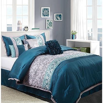 Amazon.com: Juliana 7-Piece Bedding Comforter Set, Teal ...