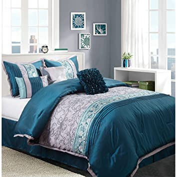 Amazon.com: Juliana 7-Piece Bedding Comforter Set, Teal Silver, King ...