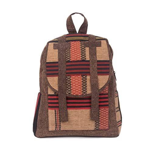 a7a8992918 Changnoi Unique Fair Trade Ethnic Backpack with Woven Fabric by Hmong Hill  Tribe in Brown  Amazon.co.uk  Handmade