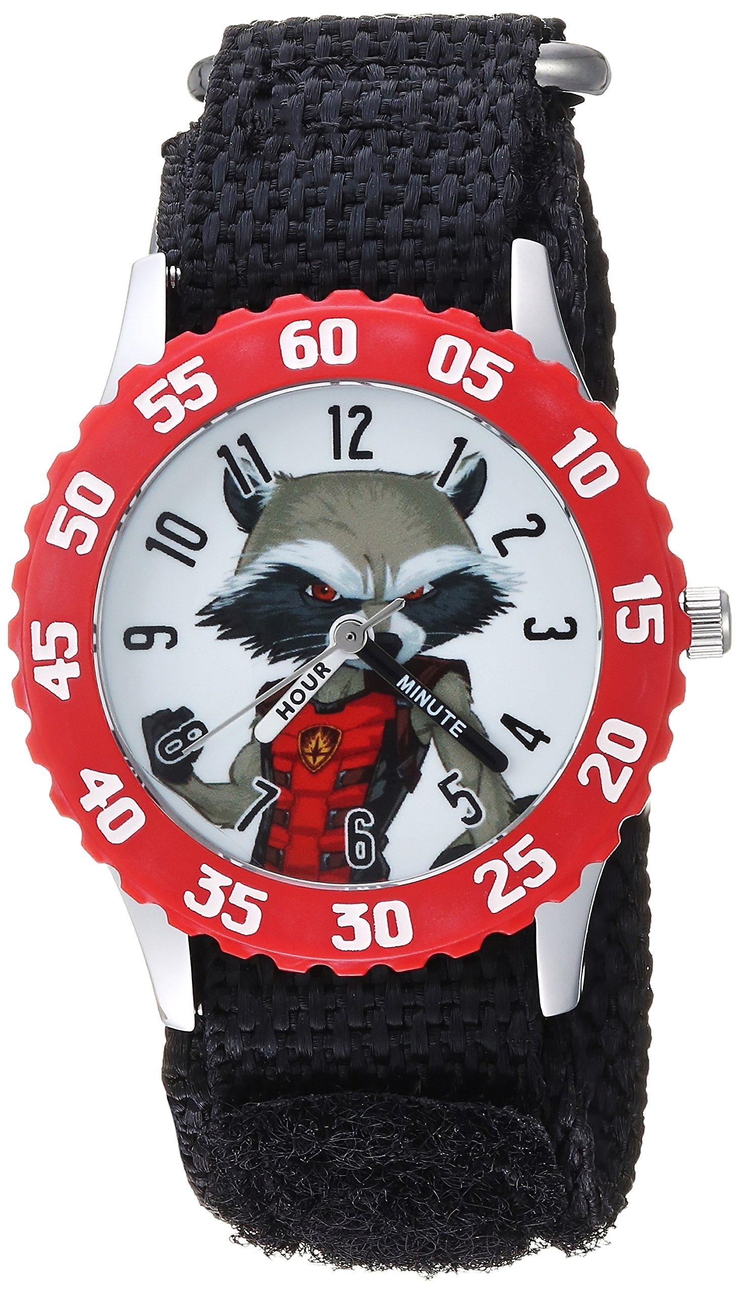 MARVEL Boys Guardian Stainless Steel Analog-Quartz Watch with Nylon Strap, Black, 16 (Model: WMA000135)
