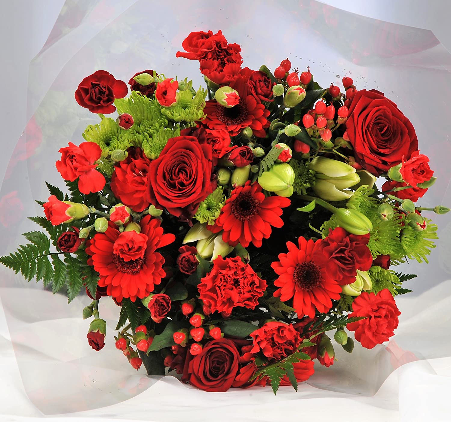 All Red Ruby Flower Bouquet - Delivered FREE UK Next Day 7 Days a Week - Anniversary or Birthday Present Homeland Florists