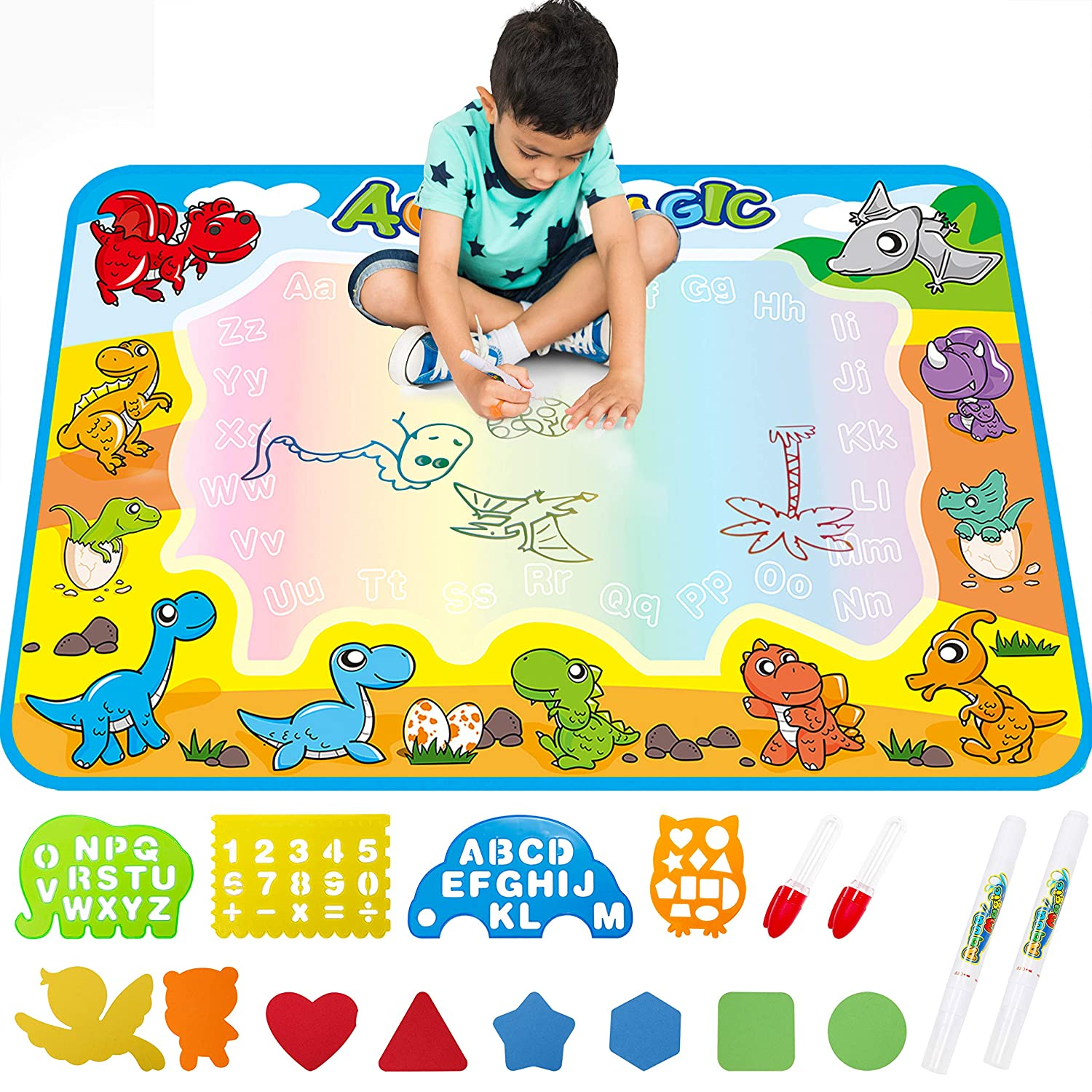 Large AquaDoodle Drawing Mat for Kids - Free to Fly Water Painting Writing Doodle Board Toy Color Aqua Magic Mat Bring Magic Pens Educational Travel Toys Gift for Boys Girls Toddlers Age 2 3 4 5 6