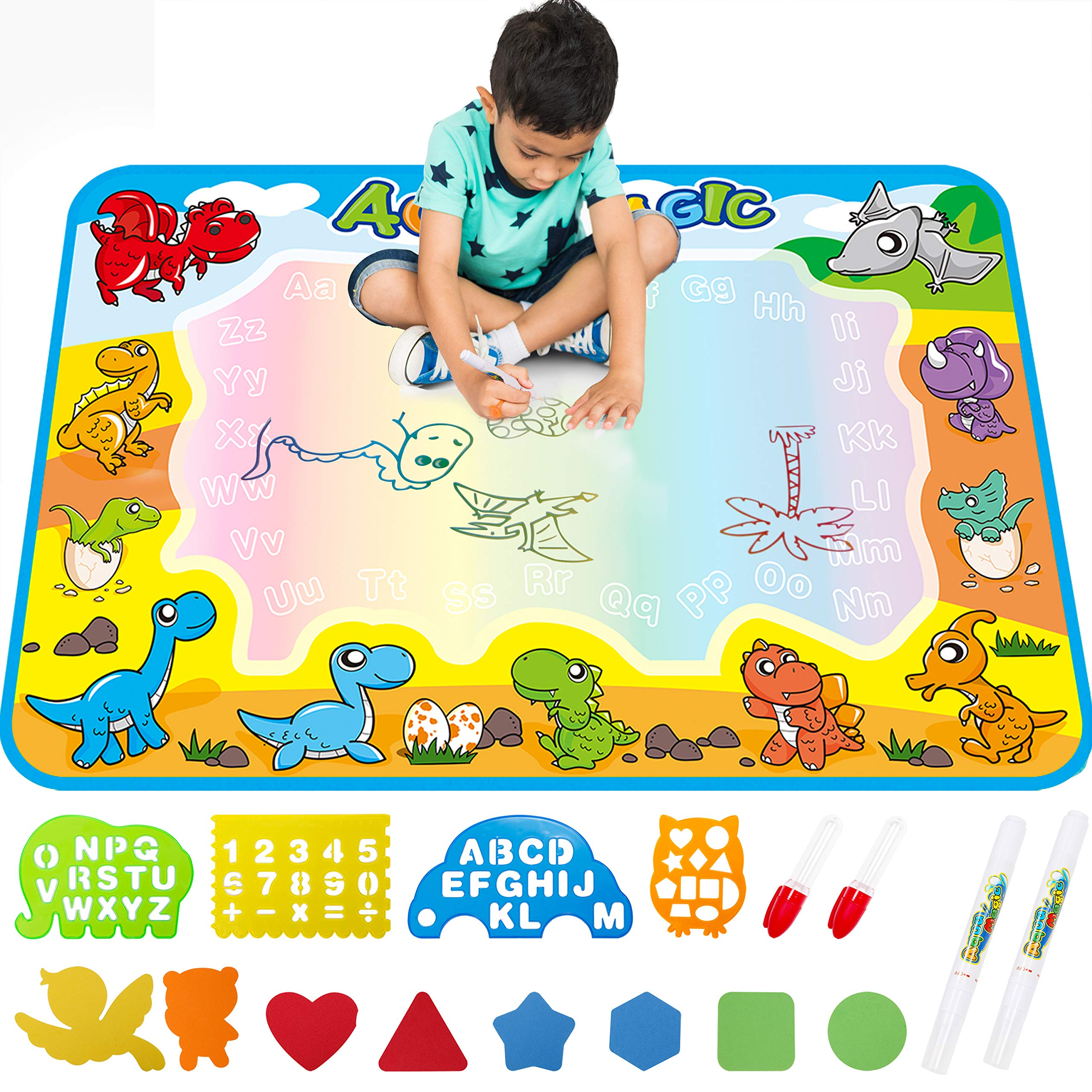 FREE TO FLY Large Aquadoodle Drawing Mat for Kids Water Painting Writing Doodle Board Toy Color Aqua Magic Mat Bring Magic Pens Educational Travel Toys Gift for Boys Girls Toddlers Age 2 3 4 5 6 by FREE TO FLY