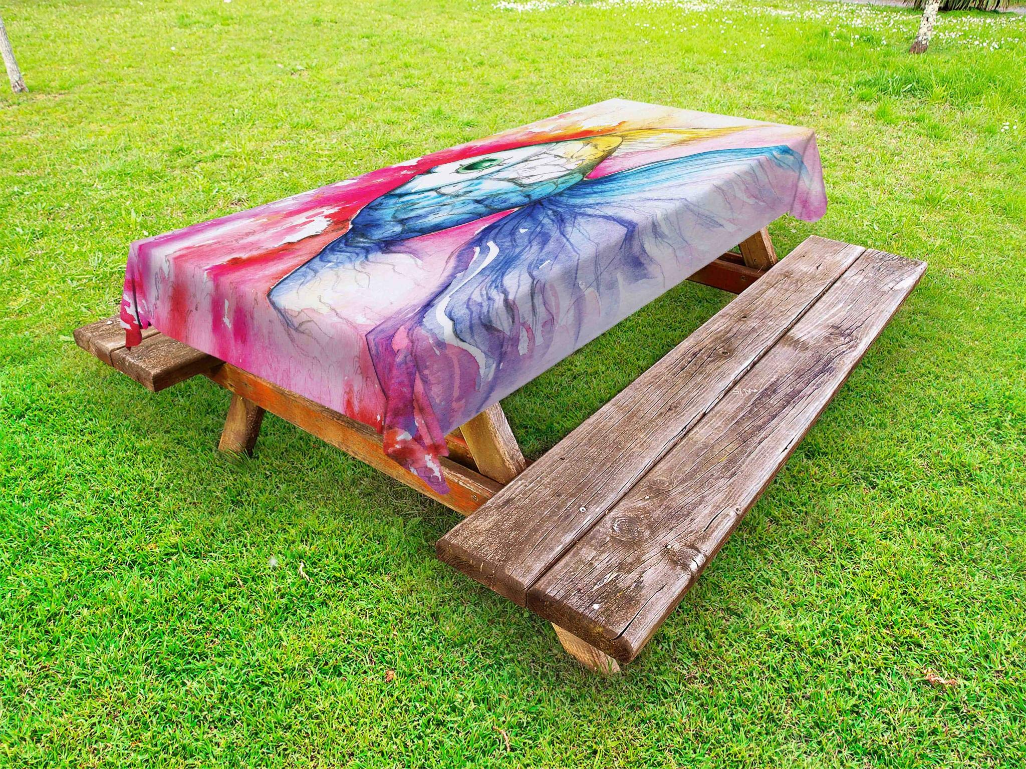 Ambesonne Fish Outdoor Tablecloth, Watercolor Fish Paint with Grunge Vivid Brushstrokes and Splashes Nautical Concept, Decorative Washable Picnic Table Cloth, 58 X 84 Inches, Multicolor