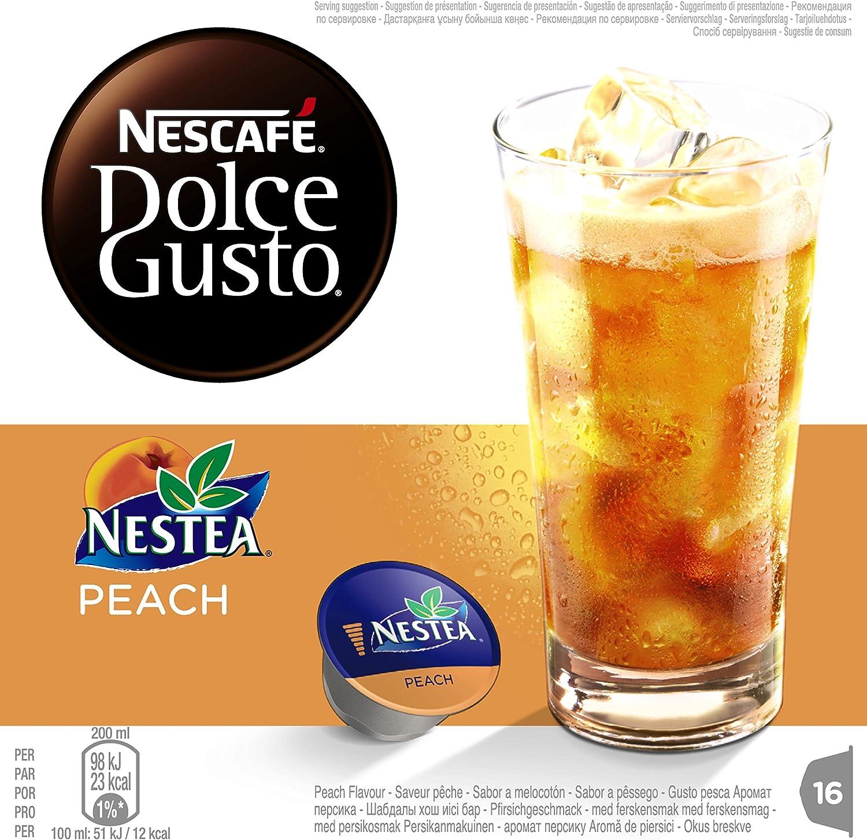 NESCAFÉ Dolce Gusto Cápsulas de Nestea Peach Té Frío, Pack de 3 x ...