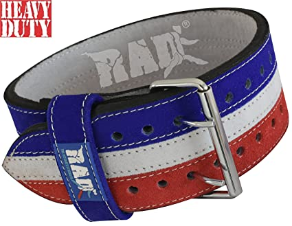 7fd96bd74 Buy RAD Nubuck Leather Weight Lifting PowerLifting Belt Back Support Blue+ White+Red Steel buckle (Medium)
