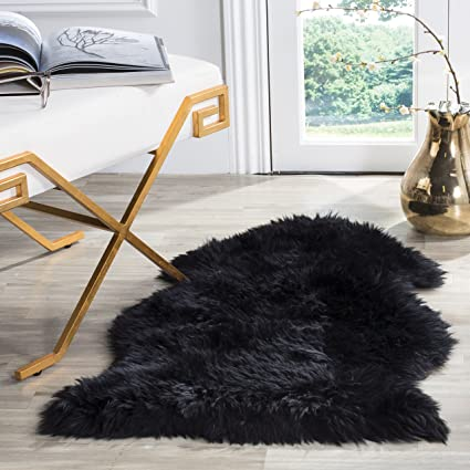 Safavieh Sheepskin Collection SHS121C Genuine Pelt Midnight Black Premium Shag Rug 2u0027 X