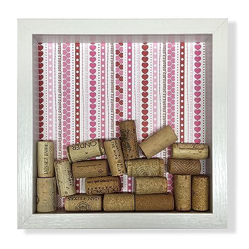 Handmade Pink Hearts Wine Cork Shadow Box
