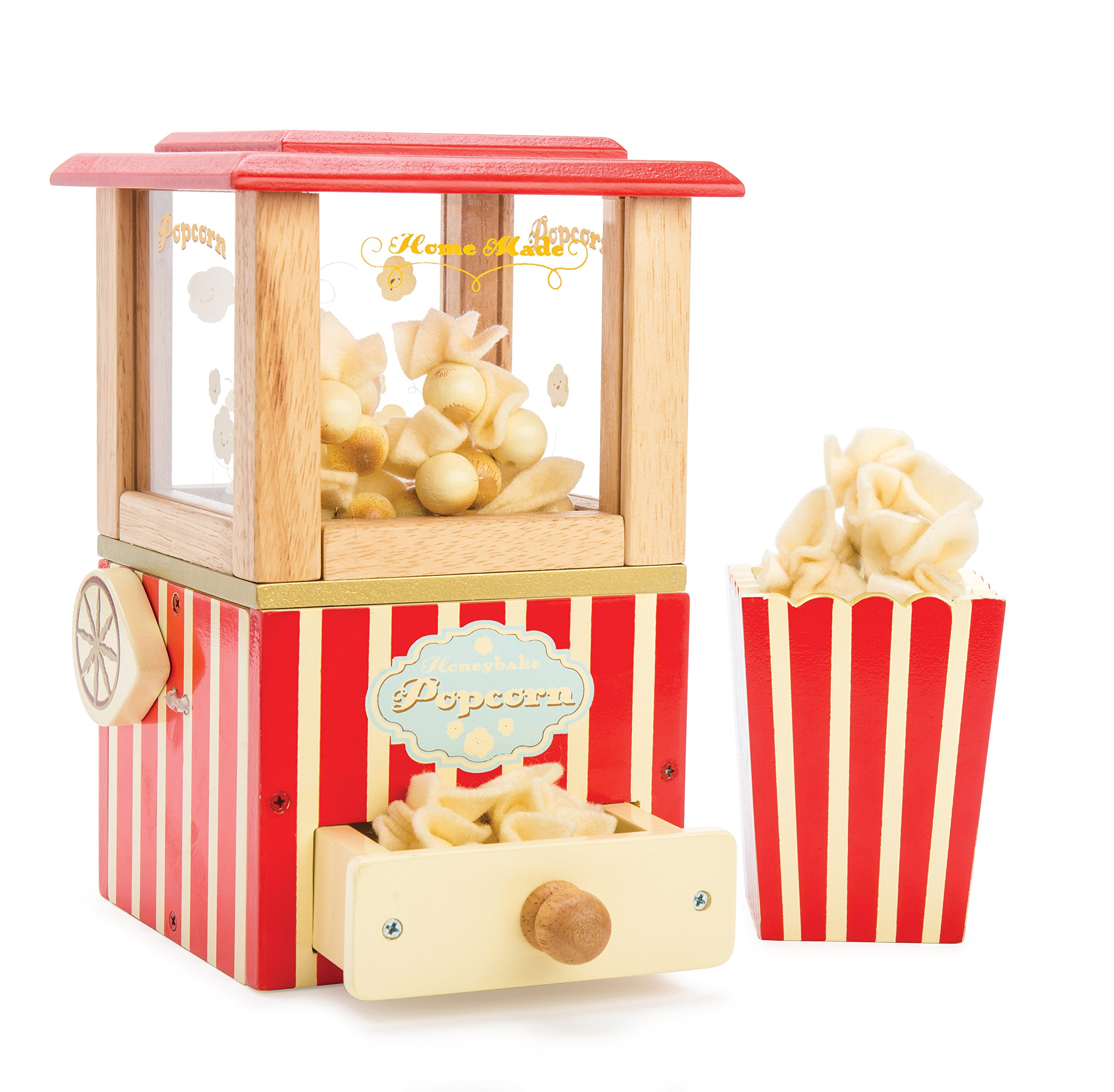 Le Toy Van Honeybake Collection Popcorn Machine Set Premium Wooden Toys for Kids Ages 3 Years & Up