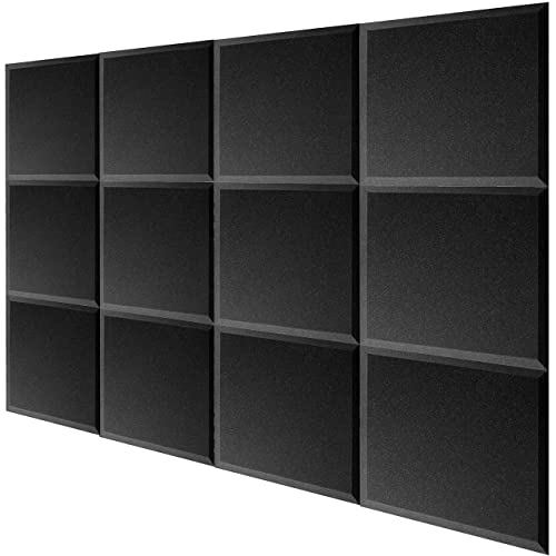 Mybecca 12 PACK Acoustic Foam BEVEL Tiles Soundproofing Wall Panel 12 x 12 x 1 inch