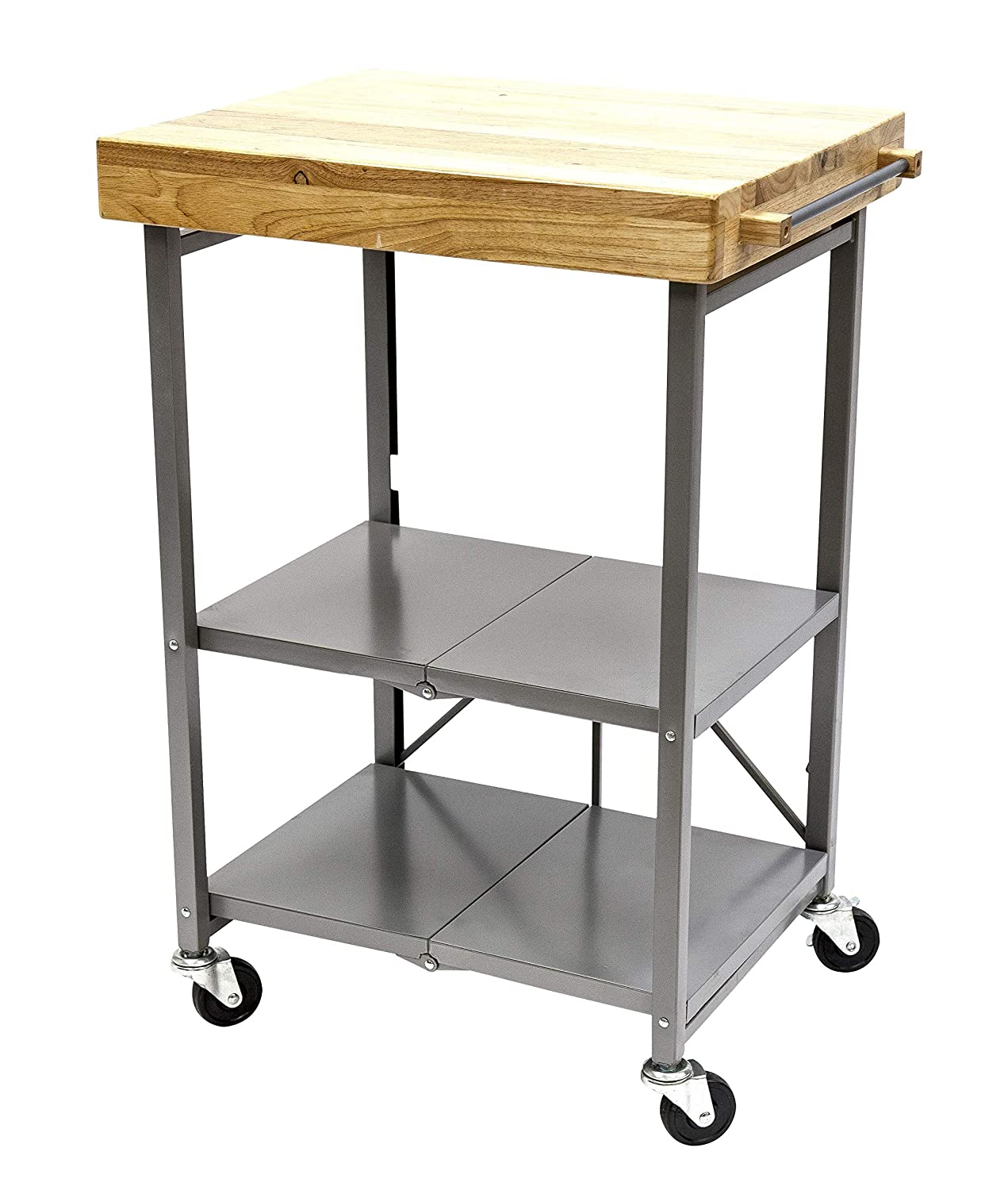 Origami Foldable Wheeled Portable Solid Wood Top Kitchen Island Bar Cart, Silver