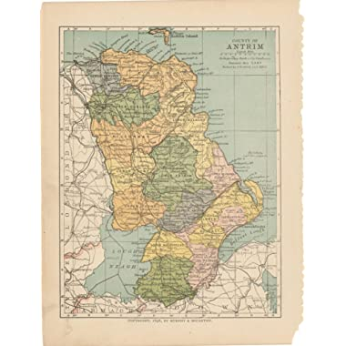 Irish County Maps, Antrim 1900|24in x 30in Historic Province Map Vintage Reprint