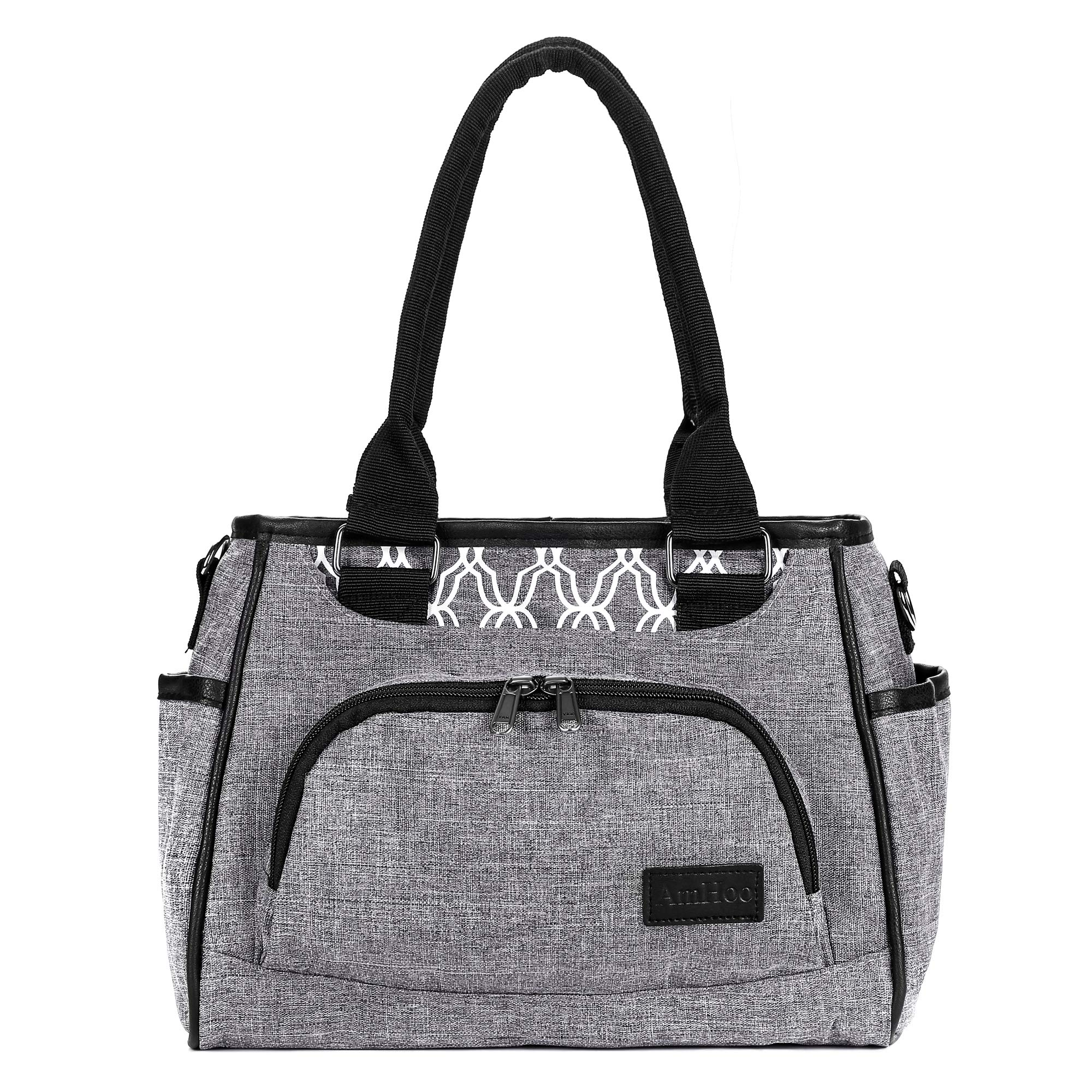 Reusable Lunch Bag Waterproof Cooler Bag Insulated Lunch Box Picnic Women Top Handle Satchel Handbags Stylish Adult 10L Lunch tote Bag for Work,School - Best YKK Zipper (Grey with White Pattern) by Am
