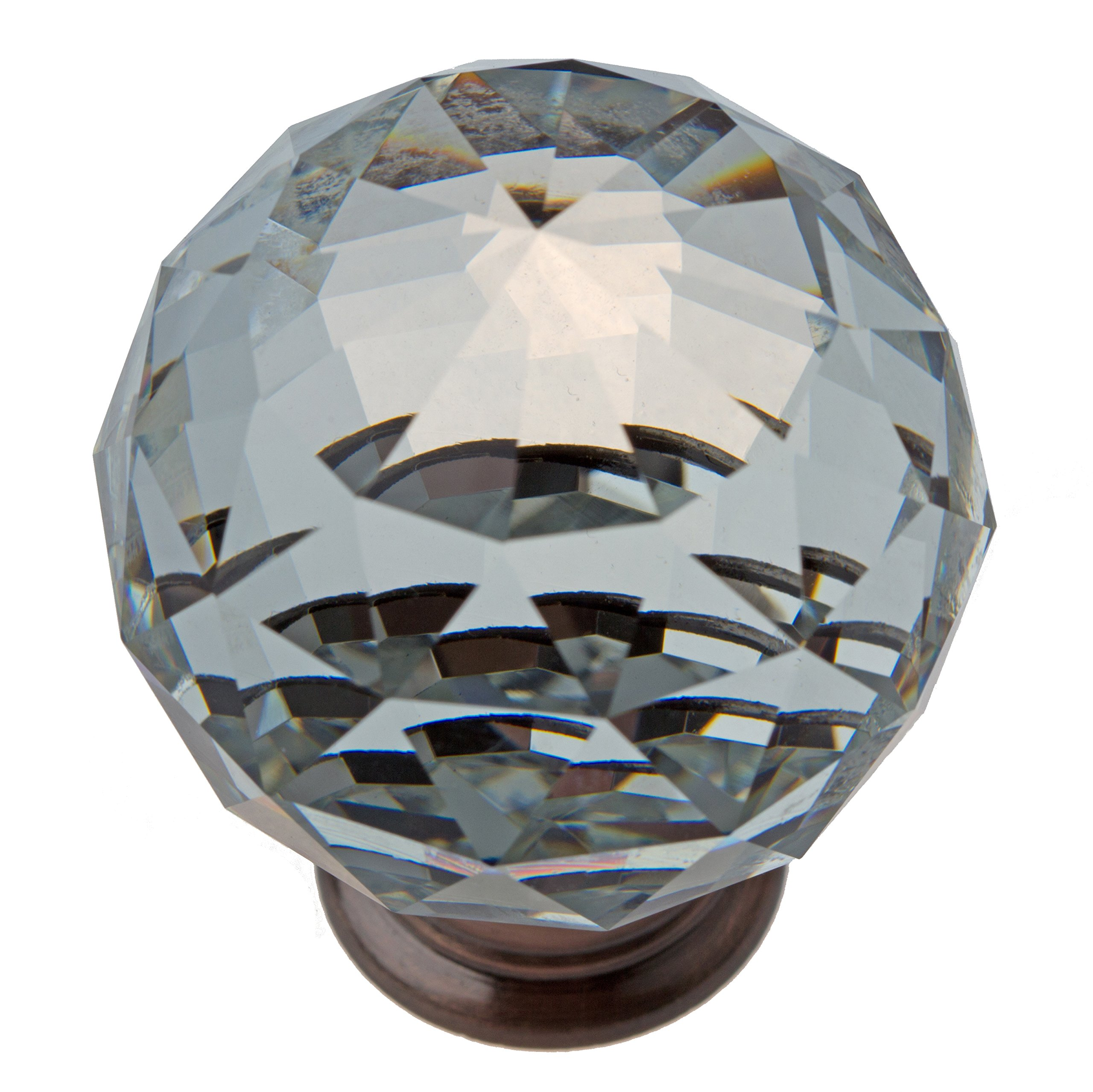 GlideRite Hardware 9003-ORB-40-10 Clear large K9 Crystal with Oil Rubbed Bronze Base Cabinet Knobs 10 Pack