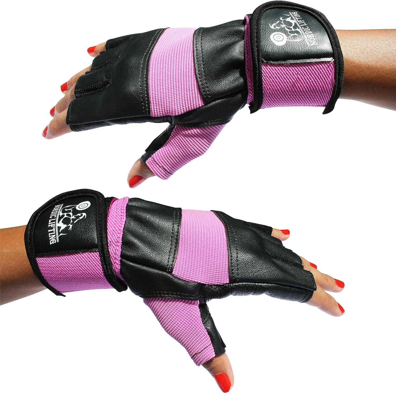 fitness y cross training crossfit para hombre y mujer Mitones para entrenamiento de gimnasio color rosa levantamiento de peso Nordic Lifting con soporte de mu/ñeca de 30 cm aproximadamente