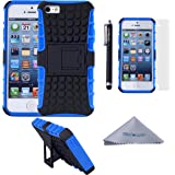 iPhone SE 5s 5 Case, Wisdompro [2 Piece in 1] Dual Layers [Heavy Duty] Hard Soft Hybrid Rugged Protective Case with [Foldable Kickstand] for Apple iPhone 5/5s/SE - Blue/Black