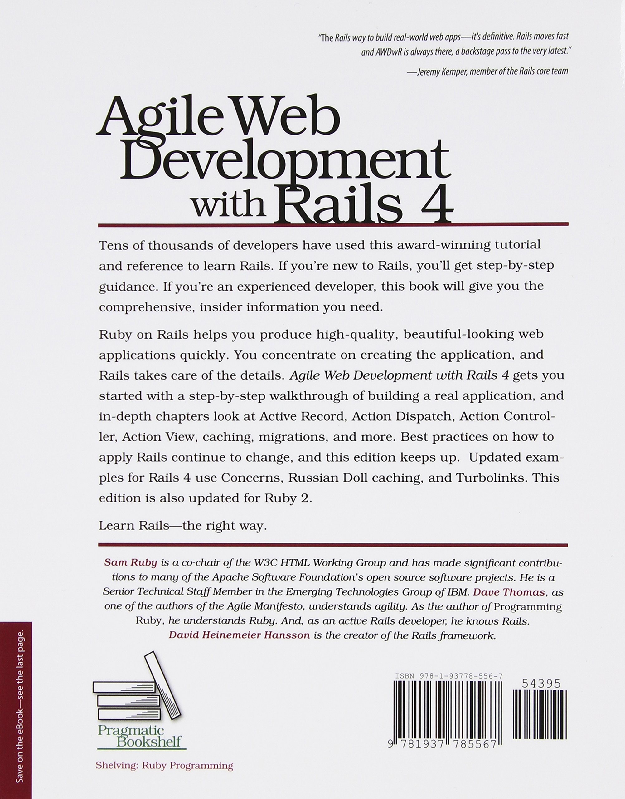 Agile web development with rails 4 pragmatic programmers amazon co uk sam ruby dave thomas david heinemeier hansson 9781937785567 books