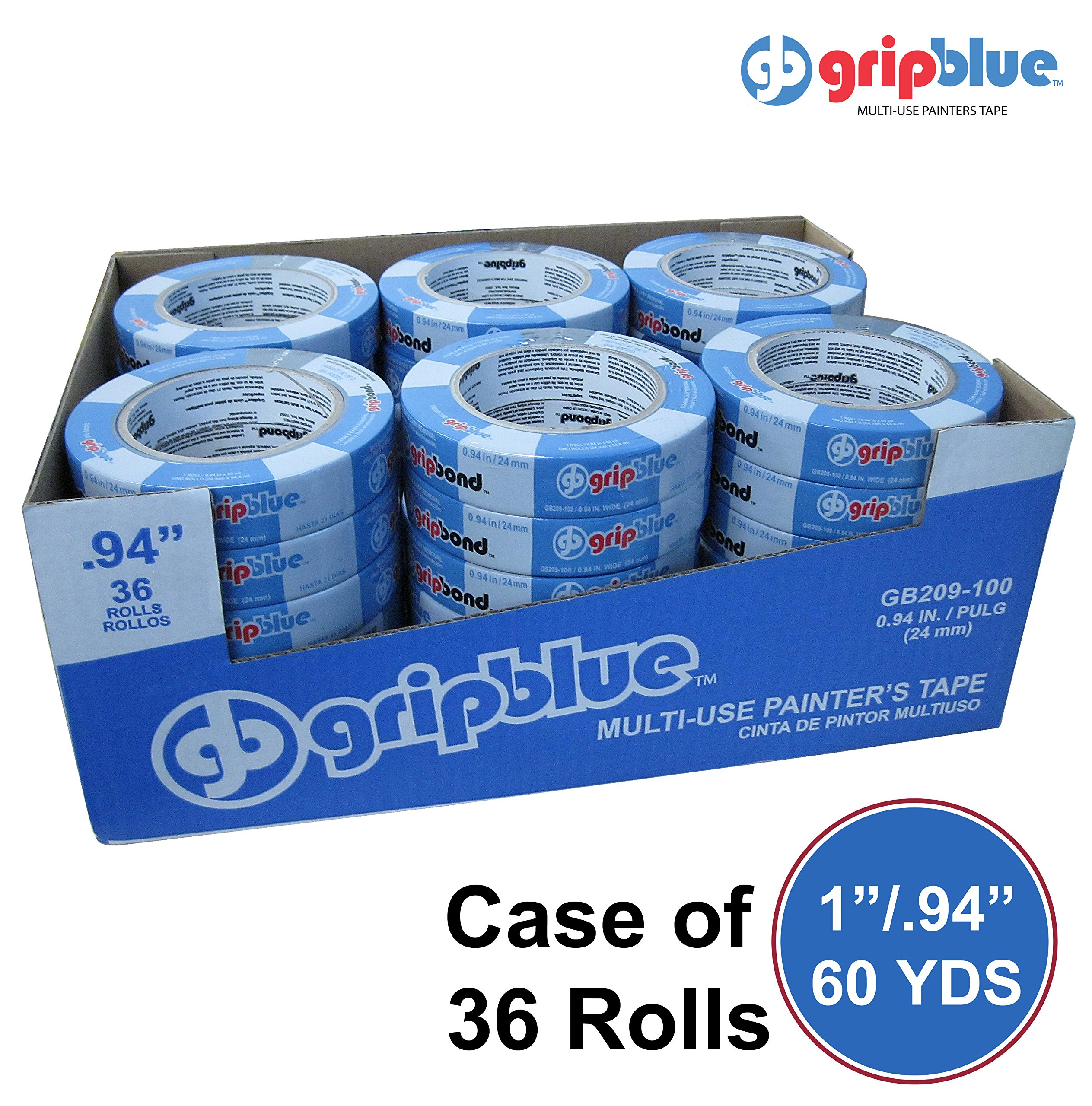 Blue Painters Tape 0.94''/24mm X 60 YDs - Case of 36 Rolls | Multi-Use Safe-Release Crepe Paper Masking Tape for Multi-Surfaces by GripBlue