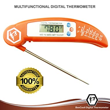 Best New Digital Instant Read Meat Thermometer- Folding Probe- BBQ - Candy -Bread - Baby Milk - Fast Read - FDA Recommended - Easy Read LCD Screen - Easily Recalibrated