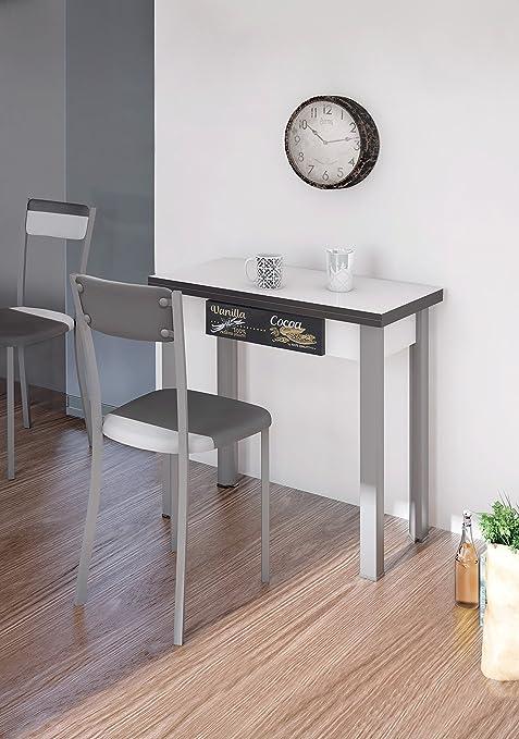 Tavolo consolle allungabile, per cucina, colore bianco e grigio ...