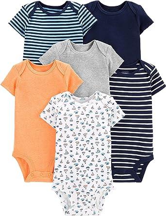 Blue//Grey Simple Joys by Carters Baby Boys 6-Pack Short-Sleeve Bodysuit Newborn