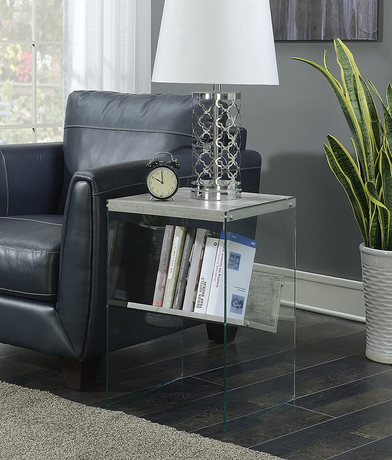Convenience Concepts SoHo End Table, Faux Birch / Glass
