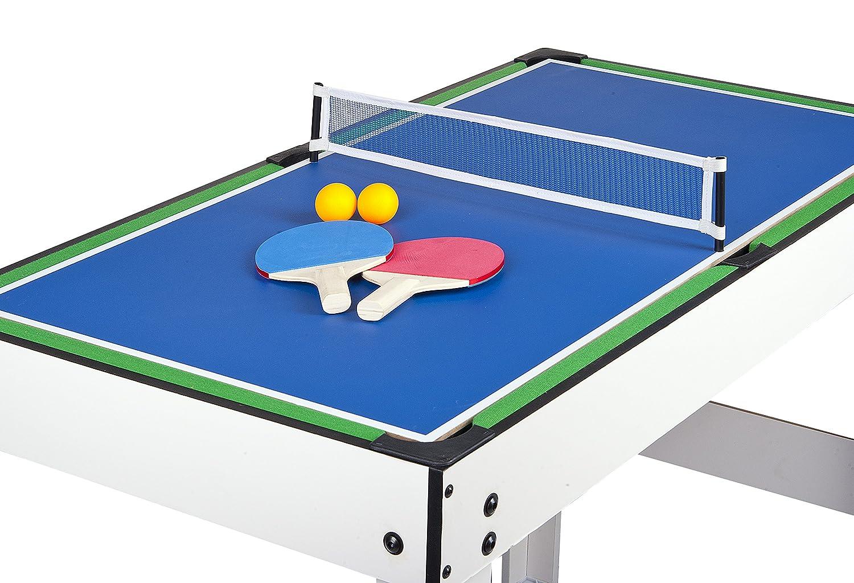 Leomark Table 4 Jeux En 1 Hockey de Table et Ping-Pong  Babyfoot Table de Ping Pong Avec Dessus de Table de Billardtous Les Accessoires Inclus Billard Babyfoot