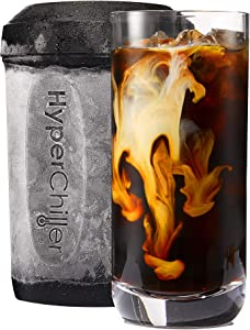 HyperChiller Patented Coffee/Beverage Cooler Ready in One Minute, Reusable for Iced Tea, Wine, Spirits, Alcohol, Juice, 12.5 oz, Black