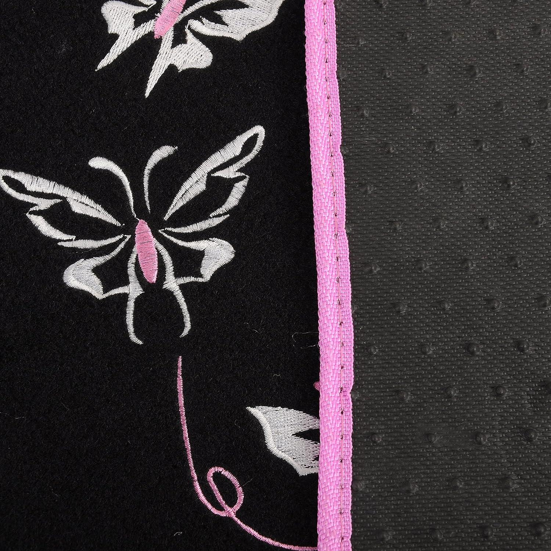 eSituro SCM0088 Tapis de Sol pour Voiture 4 pi/èces Tapis Auto Universel Motif Papillon,Violet+Noir