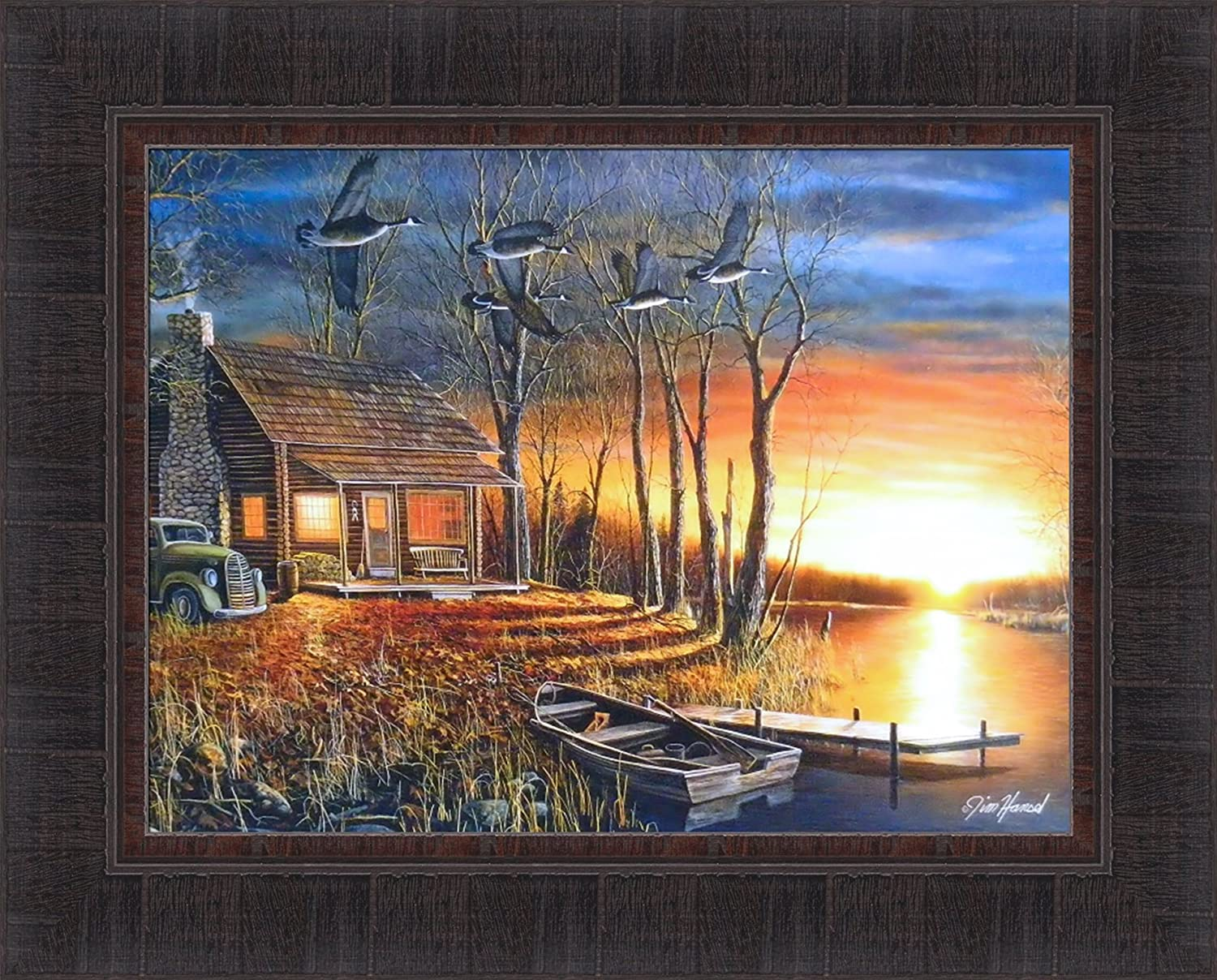 Sundown By Jim Hansel 17x21 Cabin Boat Lake Geese Framed Art Print Wall Décor Picture Posters Prints