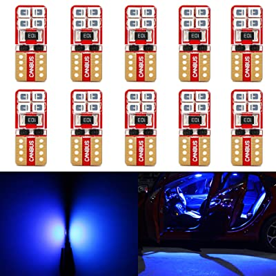Phinlion Super Bright 2835 SMD LED Bulbs for Car Interior Dome Map Door Courtesy License Plate Lights Wedge T10 168 194 2825 Blue (10 Pack): Automotive