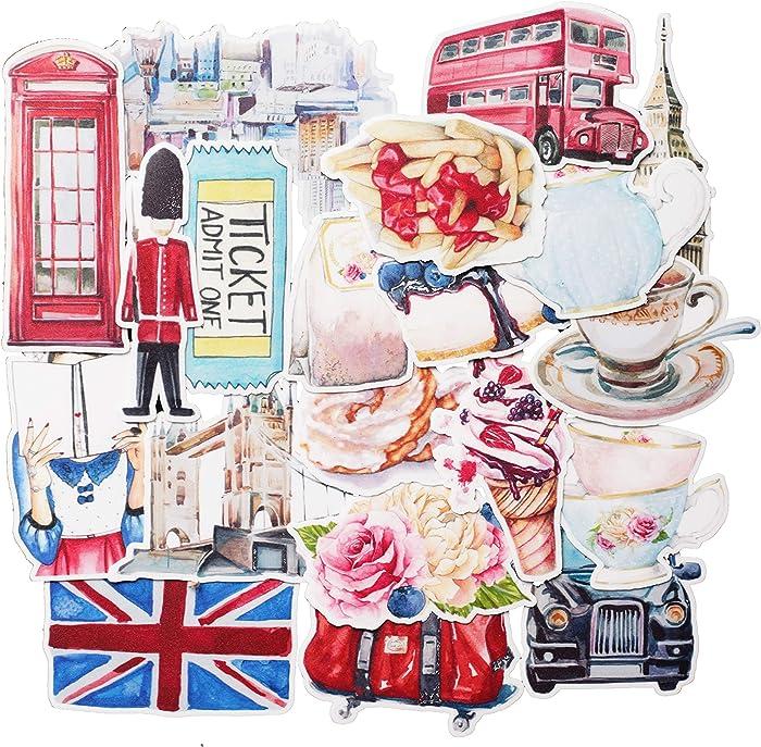 Navy Peony Eccentric England Travel Stickers (20 Pack) - Cute, Waterproof, Durable | Aesthetic Adventure Decals for Water Bottles, Laptops, Scrapbook
