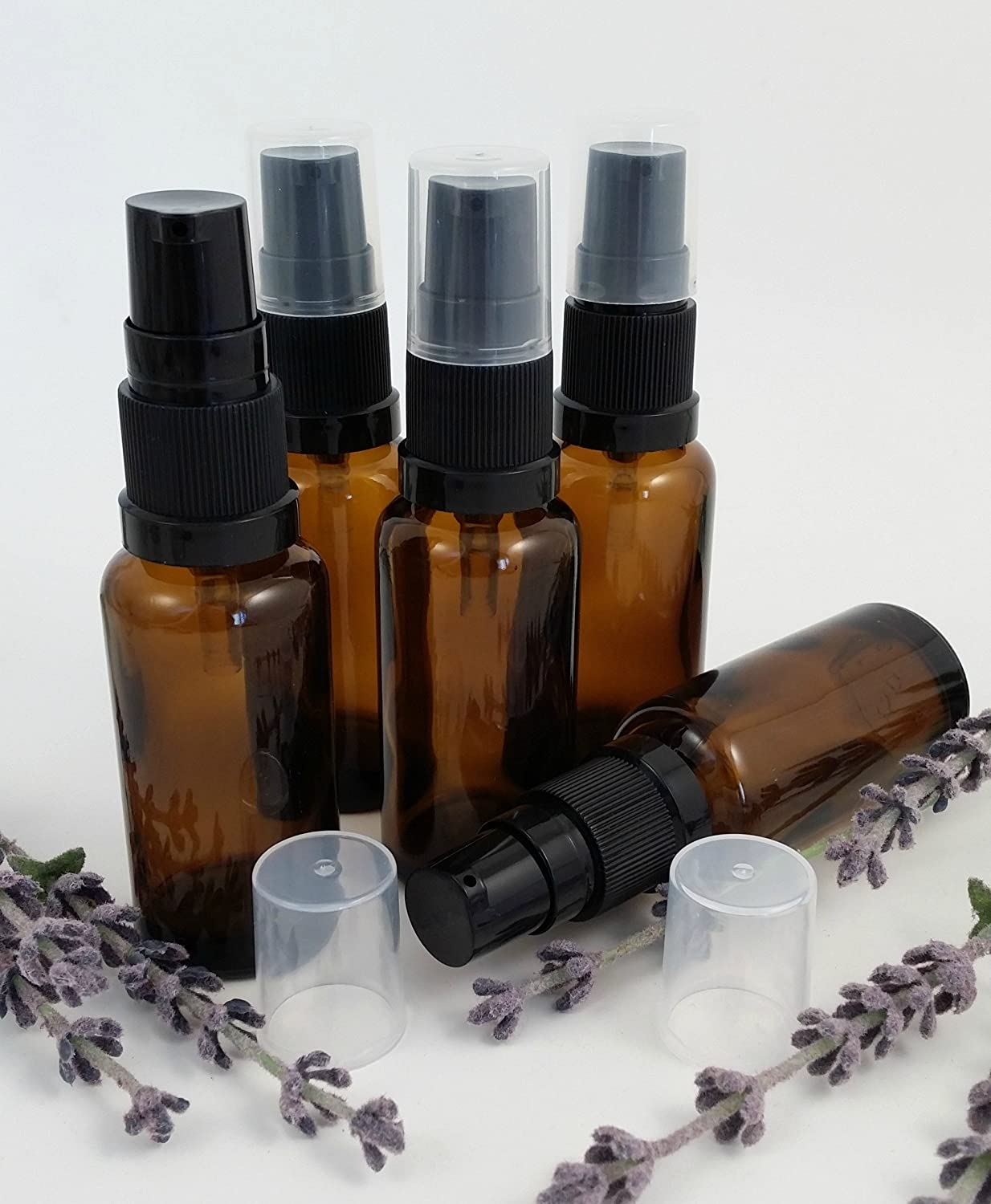 5 x AMBER Glass Aromatherapy Bottle with BLACK treatment pump/lotion pump. Choose Size: 10ml, 20ml, 25ml, 30ml, 50ml and 100ml Aromatherapy Bottle. Top quality empty AMBER glass bottle suitable for Aromatherapy, Art, Crafts, First Aid, Travel Size Bottle
