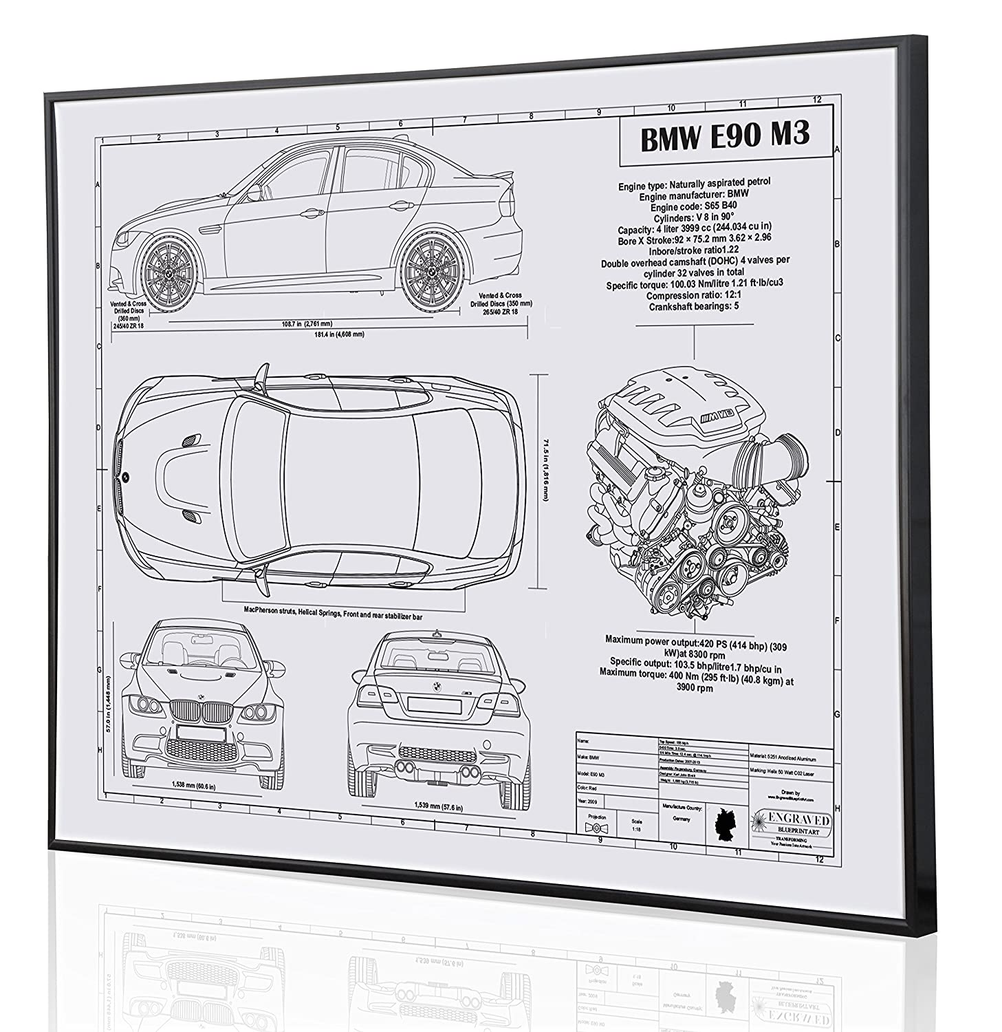 Amazon bmw e90 m3 blueprint artwork laser marked personalized amazon bmw e90 m3 blueprint artwork laser marked personalized the perfect bmw gifts handmade malvernweather Image collections