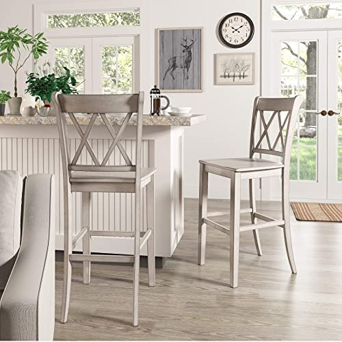 Inspire Q Eleanor Double X Back Bar Ight Chairs Set of 2 by Classic Antique White Antique, Wood Finish