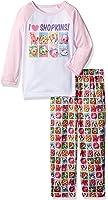 Intimo Big Girls' Shopkins L/s Raglan Top with Stampede Print Pant Pj Set