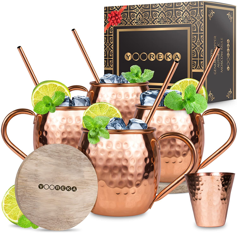 Moscow Mule Copper Mugs Set : 4 16 oz. Solid Genuine Copper Mugs Handmade in India,BONUS: Highest Quality, 4 Straws, 4 Wood Coasters, Shot Glass : Comes in Elegant Gift Box, by Yooreka