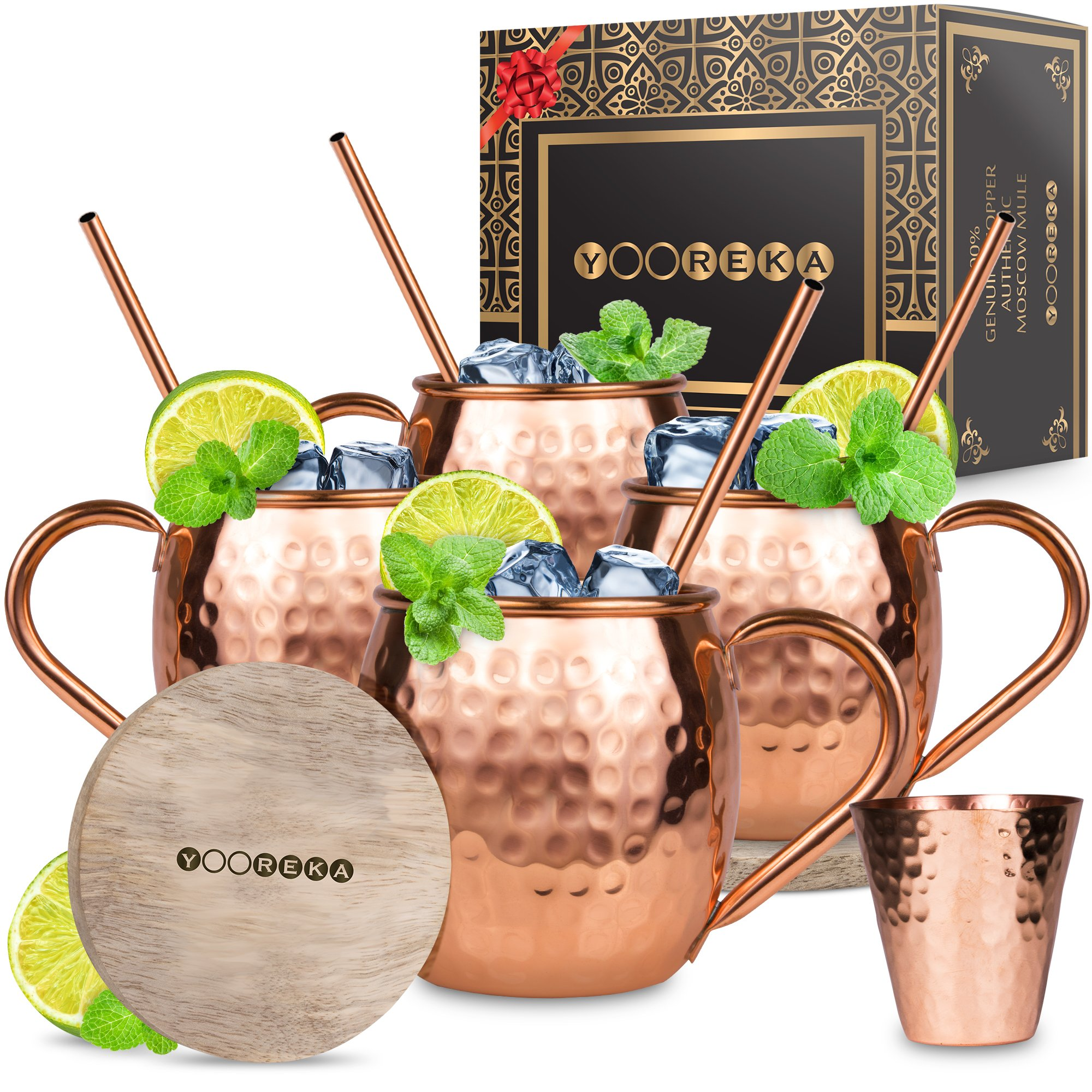 Moscow Mule Copper Mugs Set : 4 16 oz. Solid Genuine Copper Mugs Handmade in India, 4 Straws, 4 Wood Coasters, & Shot Glass : Comes in Elegant Gift Box, by Yooreka