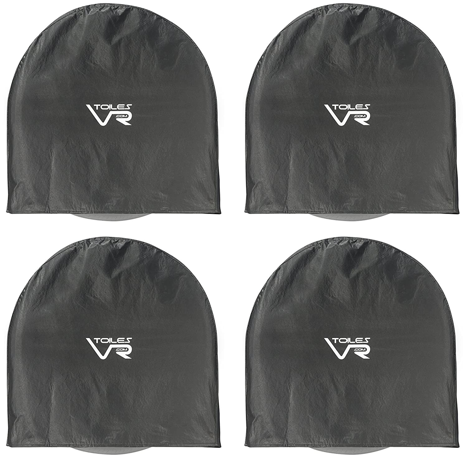 Tire Covers Waterproof Wheel Protection (Set of 4) Fits (36 Inch-39 Inch D*9) | Easy Slip-On and Easy to Clean | Black Vinyl Wheel Covers Resistant to Water, Dirt, Rust and Sun | Tires Diameters Ideal Use for RV, Trailers, Campers, Cars and Trucks by Toile