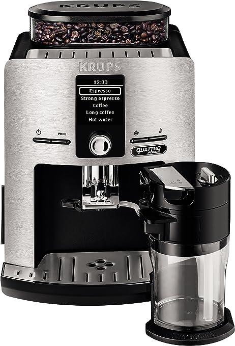 Krups Lattespress QF Die Cast EA82FD - Cafetera Super Automáticas de 15 Bares de Presión, Molinillo Cónico y Metálico, Sistema de Prensado Ultraplano, con 3 Niveles ...