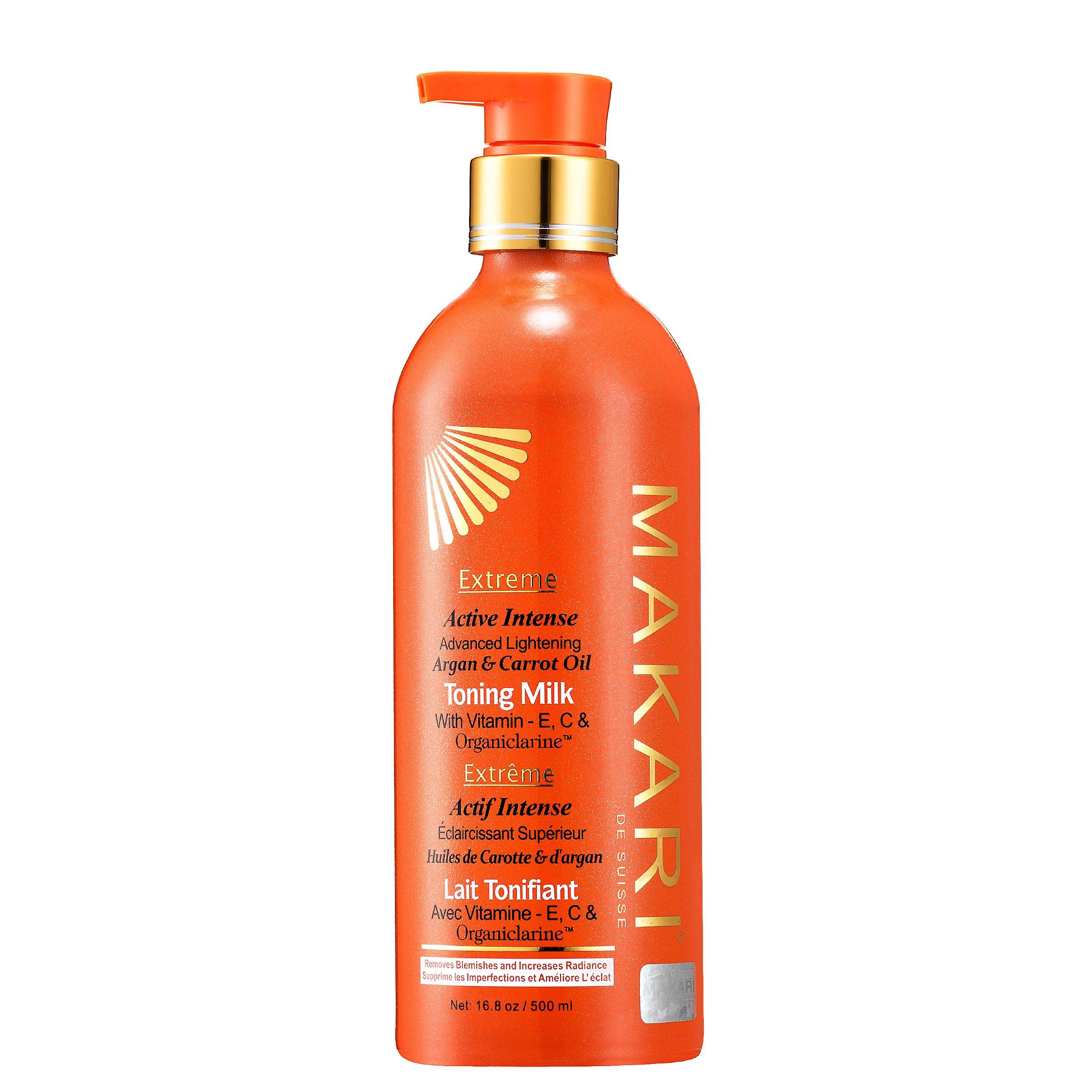Makari Extreme Carrot & Argan Oil Skin Toning Milk 16.8oz – Lightening, Brightening & Tightening Body Lotion with Organiclarine – Whitening & Anti-Aging Treatment for Dark Spots, Acne
