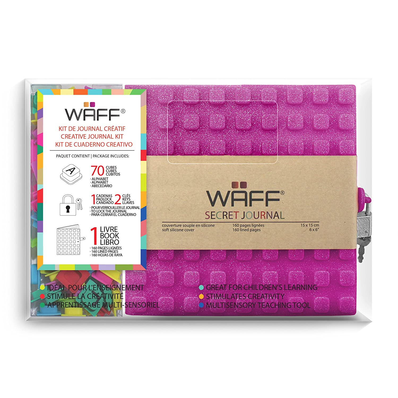 WAFF, Soft Silicone Secret Journals Combo, 70 Alphabet Cubes - Fuchsia Glitter