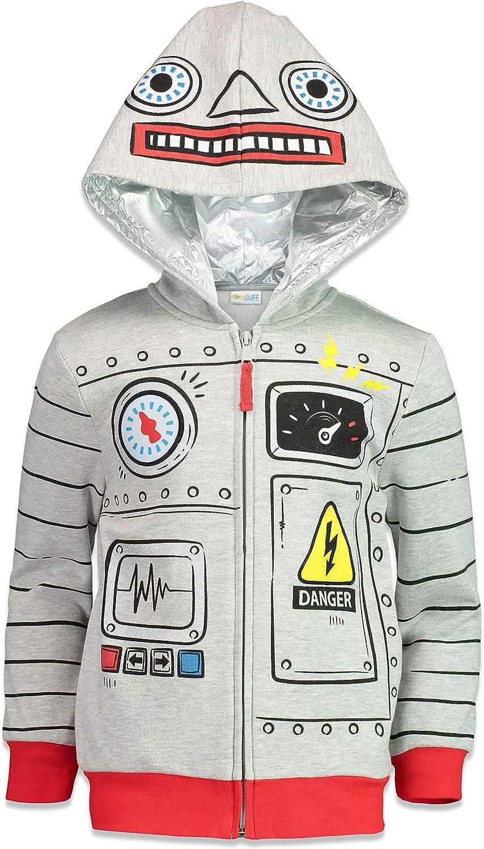 Funstuff Boys NASA Astronaut Shark Robot Fleece Zip Up Costume Hoodie