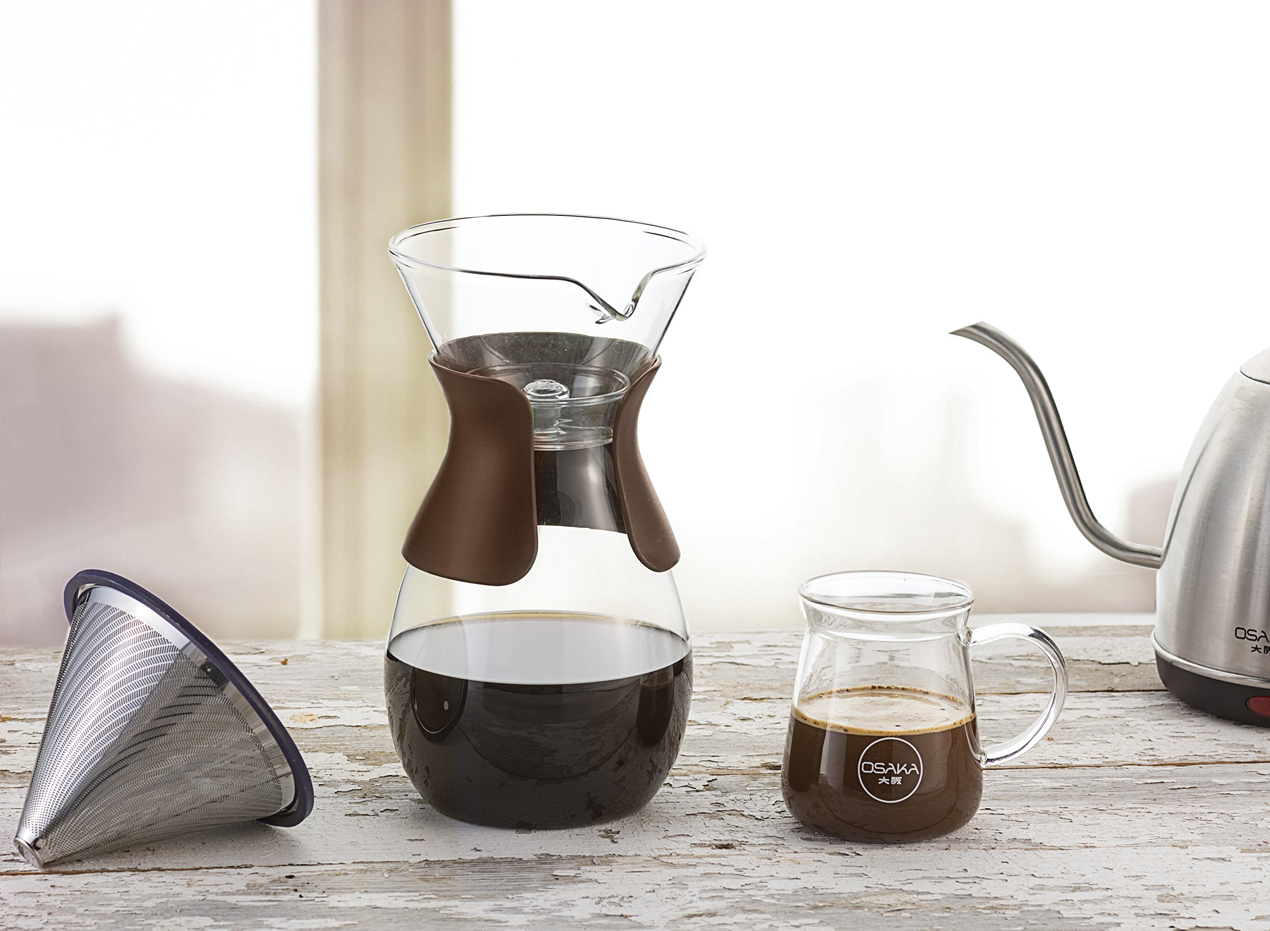 Osaka Pour Over Coffee Maker with Reusable Stainless Steel Drip Filter, 37 oz (7-Cup) Glass Carafe and Lid 'Senso-JI', Brown by Actor (Image #7)