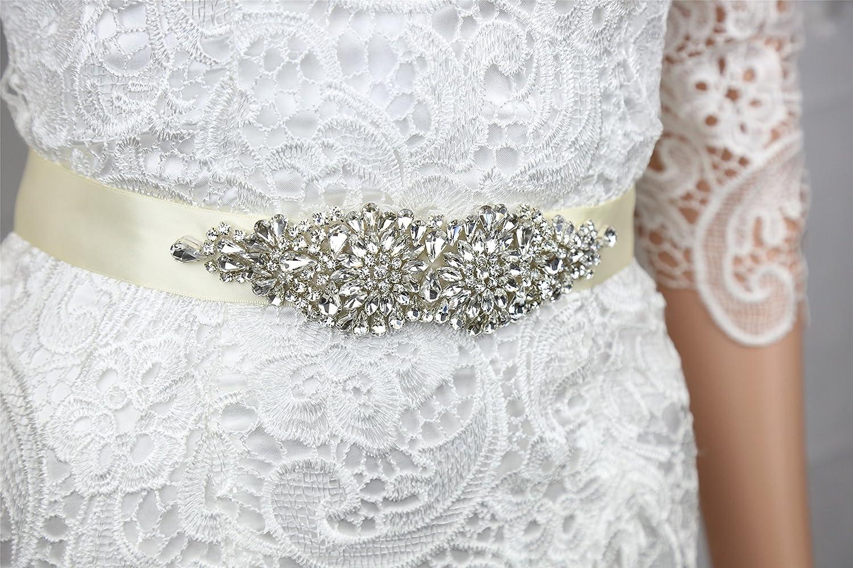 SoarDream Bridal Dress Sash, Rhinestone Bridal Belts, Wedding Belt, 7.2x2inches.