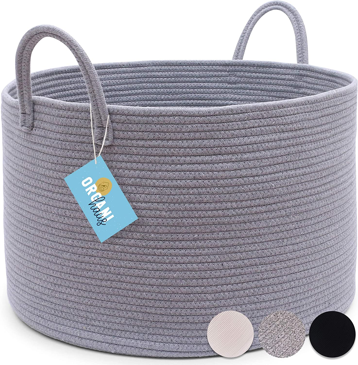 "XXL Extra Large Grey Cotton Rope Basket | 20""x13.5"" Blanket Storage Basket with Long Handles 