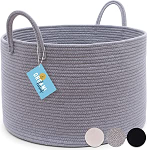 "OrganiHaus XXL Extra Large Grey Cotton Rope Basket | 20""x13.5"" Blanket Storage Basket with Long Handles 