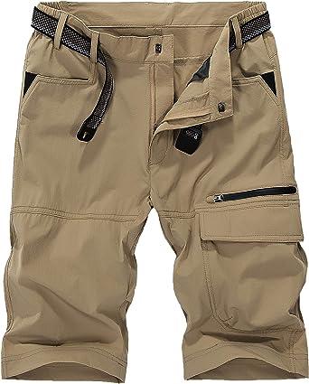Pantalones cortos de KEFITEVD, de secado rápido, transpirables, tipo cargo, con múltiples bolsillos, para hacer escalada, para hombre