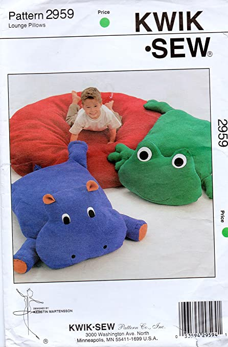 Amazon Kwik Sew 2959 Lounge Pillows Sewing Pattern Frog Hippo