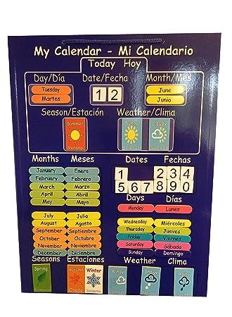 El primer y único CALENDARIO DE BILINGÜE NIÑOS! Calendario magnética para la Educación en Español